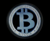 Crypto Bitcoin Bllue νόμισμα Στοκ φωτογραφίες με δικαίωμα ελεύθερης χρήσης