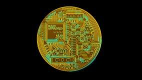 Crypto Bitcoin blockchain ψηφιακό δίκτυο κρυπτογράφησης νομίσματος για τα παγκόσμια χρήματα απόθεμα βίντεο
