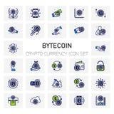 Crypto ByteCoin εικονίδια νομίσματος καθορισμένα Στοκ Φωτογραφία