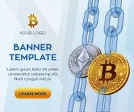 Crypto calibre de bannière de devise Bitcoin Ethereum pièces de monnaie physiques isométriques du peu 3D Bitcoin et argent d'or E Photo stock