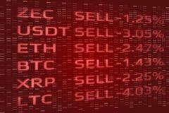 Crypto concept de vente de panique de marché de changes Double exposition de fond de chute des prix numérique de pièces de monnai images stock