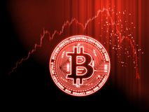 Crypto currencies market goes down concept. Glowing Bitcoin BTC on red candle stick charts with extreme price drop background stock photos