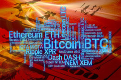 Crypto currencies word cloud. Crypto-currencies with a capitalization of more than $ 100 million. The font size roughly shows the market share of digital Royalty Free Stock Image