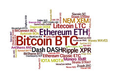 Crypto currencies word cloud. Crypto-currencies with a capitalization of more than $ 100 million. The font size roughly shows the market share of digital Royalty Free Stock Photos