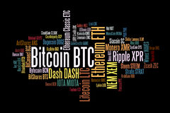 Crypto currencies word cloud. Crypto-currencies with a capitalization of more than $ 100 million. The font size roughly shows the market share of digital Stock Photo