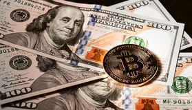 Crypto currency and banknotes. concept of investing in mining.  royalty free stock photography