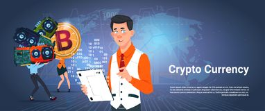 Crypto Currency Banner Man And Woman Holding Microchip Bitcoin Digital Crypto Money Over World Map Background. Vector Illustration Stock Image