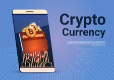 Crypto Currency Banner Smart Phone Bitcoin Wallet Digital Web Money Concept Royalty Free Stock Images