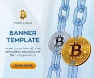 Crypto currency  banner template. Bitcoin. 3D isometric Physical bit coin. Golden and silver bitcoin coins with wireframe. Chain. Block chain concept. Stock Royalty Free Stock Image