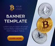 Crypto currency  banner template. Bitcoin, Ethereum, Litecoin. 3D isometric Physical coins. Golden bitcoin coin and silver. Ethereum and litecoin coins. Stock Stock Image