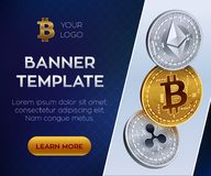 Crypto currency  banner template. Bitcoin, Ethereum, Ripple. 3D isometric Physical coins. Golden bitcoin coin and silver e. Thereum and ripple coins. Stock Royalty Free Stock Photo