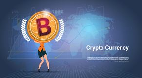 Crypto Currency Banner Woman Holding Golden Bitcoin Over World Map Background Digital Web Money Concept. Vector Illustration Royalty Free Stock Images