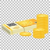 Crypto currency bitcoin banknotes and coins. Crypto currency bitcoin concept. Paper money, banknotes and coins for trading, buying, selling, mining and transfer Stock Photos