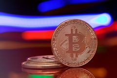 Coins bitcoin. Crypto currency. Crypto currency bitcoin on a dark abstract background stock photography