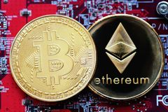 Crypto currency Bitcoin and Ethereum Stock Photos