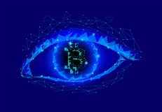 Crypto currency bitcoin in eye. Net banking mining future technology vector illustration