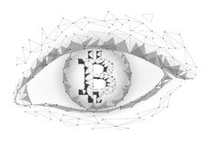 Crypto currency bitcoin in eye. Net banking mining future technology. Crypto currency bitcoin in eye. Net banking mining future technology vector greed concept Royalty Free Stock Photo