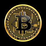 Crypto currency bitcoin golden symbol. Crypto currency golden coin with black lackered bitcoin symbol on obverse isolated on black background. Vector Royalty Free Stock Photos