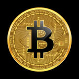 Crypto currency bitcoin golden symbol. Crypto currency golden coin with black lackered bitcoin symbol on obverse isolated on black background. Vector Royalty Free Stock Images
