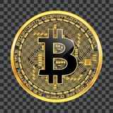 Crypto currency bitcoin golden symbol. Crypto currency golden coin with black lackered bitcoin symbol on obverse  on transparent background. Vector illustration Stock Photography