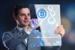 Crypto-currency,  Bitcoin internet virtual money. Currency Techn Stock Image