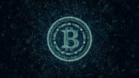 Crypto currency Bitcoin of luminous particles. Background 3d. Animation loop vector illustration