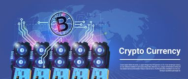 Crypto Currency Bitcoin Mining Farming Horizontal Banner World Map Background Digital Web Money Concept. Vector Illustration Royalty Free Stock Photography