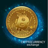 Crypto-Currency Of Bitcoin - Stock Exchange Trading Via Mobile App. Graphic illustration on the subject of `exchange cryptocurrency`. Banner. vector Stock Photo