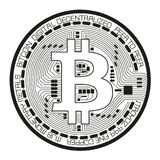 Crypto currency black coin with black lackered bitcoin symbol on Stock Photography