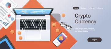 Crypto currency block chain concept bitcoin mining top angle view desktop laptop smartphone paper documents financial. Report office stuff horizontal copy space royalty free illustration