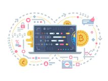 Crypto currency and block chain. Electronic operations with bitcoin. Vector illustration royalty free illustration