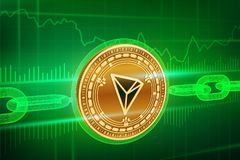 Crypto currency. Block chain. Tron. 3D isometric Physical golden Tron coin with wireframe chain. Blockchain concept. Editable Cryp royalty free illustration