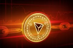 Crypto currency. Block chain. Tron. 3D isometric Physical golden Tron coin with wireframe chain. Blockchain concept. Editable Cryp stock illustration