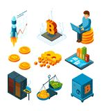 Crypto currency business. Digital ico startup at blockchain finance company globe crypto coins mining vector isometric. Icon. Cryptocurrency ico startup, farm vector illustration