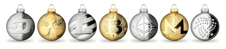 Crypto currency coin christmas xmas ball bauble set collection g. Old silver bitcoin ethereum monero litecoin dash iota ripple isolated on white background stock images