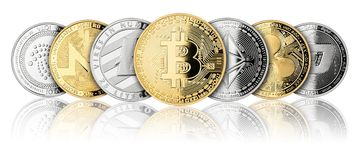 Crypto currency coin panorama row. Crypto currency coin panorama set collection row silver gold isolated on white background bitcoin ethereum monero dash royalty free illustration
