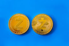 Crypto currency coin zcash front and back sides Royalty Free Stock Photography