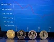 Crypto currency coins and graph with prices. On a notebook are coins - bitcoin, litecoin, ripple and ethereum. On background is monitor of notebook with graph of royalty free stock photography