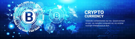 Crypto Currency Concept Bitcoin Sign On Blue World Map. Modern Web Money Technology Horizontal Banner Vector Illustration Royalty Free Stock Image