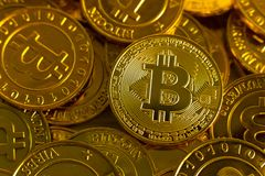 Crypto currency concept.Bitcoins ,Gold Coins ,Cryptocurrency wit. New crypto currency concept.Bitcoins ,Gold Coins ,Cryptocurrency with space for your Concept royalty free stock photo