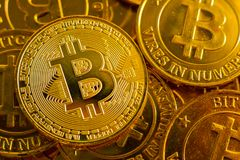 Crypto currency concept.Bitcoins ,Gold Coins ,Cryptocurrency wit. New crypto currency concept.Bitcoins ,Gold Coins ,Cryptocurrency with space for your Concept stock image