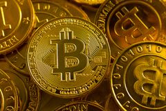 Crypto currency concept.Bitcoins ,Gold Coins ,Cryptocurrency wit. New crypto currency concept.Bitcoins ,Gold Coins ,Cryptocurrency with space for your Concept royalty free stock photography