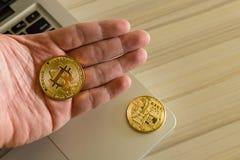 Crypto currency concept.Bitcoins ,Gold Coins ,Cryptocurrency wit. New crypto currency concept.Bitcoins ,Gold Coins ,Cryptocurrency with space for your Concept stock photo
