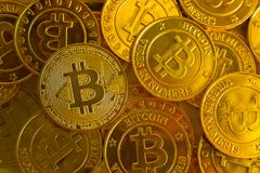 Crypto currency concept.Bitcoins ,Gold Coins ,Cryptocurrency wit. New crypto currency concept.Bitcoins ,Gold Coins ,Cryptocurrency with space for your Concept royalty free stock images