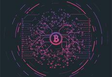 Crypto currency concept. Gradient vector illustration. Connections and circles. Futuristic information network. Visual geometric structure of data with digits royalty free illustration