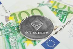 Crypto currency concept - A Ethereum with euro bills royalty free stock photography