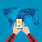 Crypto Currency Concept Hand Holding Smart Phone Illustration Ve. A cryptocurrency or crypto currency is a digital asset designed to work as a medium of exchange Stock Photo