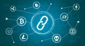 Crypto currency concept. Network nodes of crypto currency symbols and tech background royalty free illustration