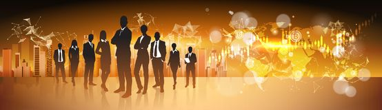 Crypto Currency Concept Silhouette Business People Group Standing Over World Map With Bitcoin Digital Web Money. Vector Illustration Stock Image