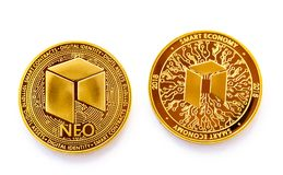 Crypto currency digital coin - neo front and back. On a white background is isolated the front and back side of gold coin of a digital crypto currency - neo royalty free stock photography